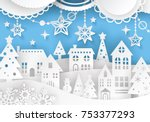 winter town landscape with... | Shutterstock .eps vector #753377293