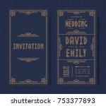 wedding invitation card set art ... | Shutterstock .eps vector #753377893