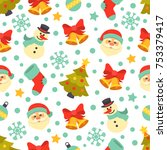 christmas pattern. vector... | Shutterstock .eps vector #753379417