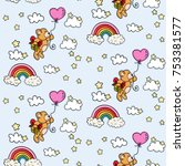 seamless with teddy bear... | Shutterstock .eps vector #753381577