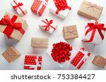 gift boxes with ribbon on white ... | Shutterstock . vector #753384427