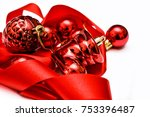 christmas decoration on red... | Shutterstock . vector #753396487