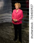 Small photo of BERLIN, GERMANY - OCT 1, 2017: Angela Dorothea Merkel, a German politician as Chancellor of Germany, Madame Tussauds Berlin wax museum.
