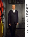 Small photo of BERLIN, GERMANY - OCT 1, 2017: Konrad Hermann Joseph Adenauer, the first Chancellor of the Federal Republic of Germany, Madame Tussauds Berlin wax museum.