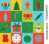 christmas decoration icons ...   Shutterstock .eps vector #753409957