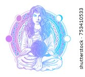 magic woman color tattoo and t... | Shutterstock .eps vector #753410533