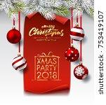 christmas  new year winter... | Shutterstock .eps vector #753419107