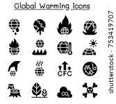 global warming icon set  | Shutterstock .eps vector #753419707