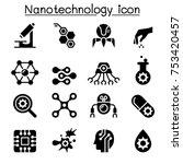nanotechnology icon set | Shutterstock .eps vector #753420457