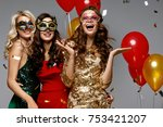party. beautiful women in masks ... | Shutterstock . vector #753421207