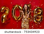 new year. woman with balloons... | Shutterstock . vector #753434923