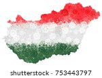 flag and map of hungary with... | Shutterstock .eps vector #753443797