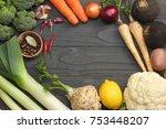 fresh vegetables on dark wooden ... | Shutterstock . vector #753448207