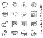 thin line icon set   chip ... | Shutterstock .eps vector #753456103
