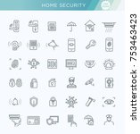 home security icons set. vector ... | Shutterstock .eps vector #753463423