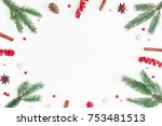 christmas composition. frame... | Shutterstock . vector #753481513