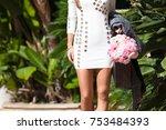 young beautiful stylish woman... | Shutterstock . vector #753484393