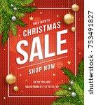 christmas sale poster banner... | Shutterstock .eps vector #753491827