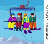 ski lift with cartoon people in ... | Shutterstock .eps vector #753493447