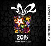 2018 happy new year greeting... | Shutterstock .eps vector #753502057