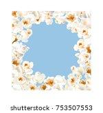 frame made of popcorn over the... | Shutterstock .eps vector #753507553