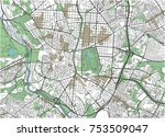 colorful madrid vector city map | Shutterstock .eps vector #753509047