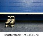 hockey skates in changing room  | Shutterstock . vector #753511273
