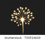 festive golden firework salute... | Shutterstock .eps vector #753514633