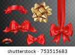 set of vector red and gold... | Shutterstock .eps vector #753515683