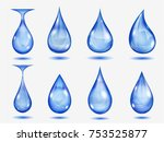 set of blue drops in various... | Shutterstock . vector #753525877