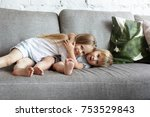 adorable caucasian children... | Shutterstock . vector #753529843