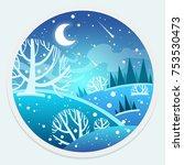 snowy winter landscape in...   Shutterstock .eps vector #753530473