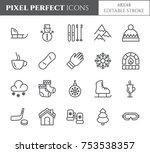 winter vacation related pixel... | Shutterstock .eps vector #753538357