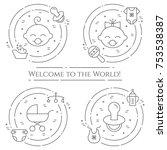 baby theme horizontal banner.... | Shutterstock .eps vector #753538387