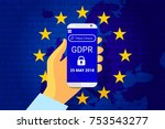 gdpr   general data protection... | Shutterstock .eps vector #753543277
