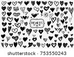 hearts vector set. hand drawn... | Shutterstock .eps vector #753550243