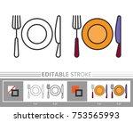 flatware  cutlery linear icon.... | Shutterstock .eps vector #753565993