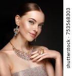 model in set of jewellery.... | Shutterstock . vector #753568303