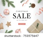 christmas sale poster template... | Shutterstock .eps vector #753575647