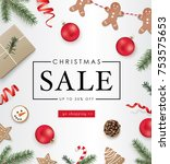 christmas sale poster template... | Shutterstock .eps vector #753575653