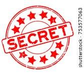 grunge red secret round rubber... | Shutterstock .eps vector #753577063
