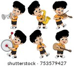 kid playing musical instruments ... | Shutterstock .eps vector #753579427