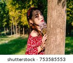 beautiful chinese girl in red... | Shutterstock . vector #753585553