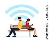 wi fi concept. couple young... | Shutterstock .eps vector #753586873