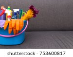 home cleaning concept basket... | Shutterstock . vector #753600817