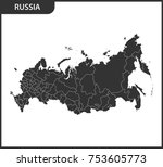 detailed map of russia with... | Shutterstock .eps vector #753605773