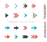 color arrow icon vector set | Shutterstock .eps vector #753605887
