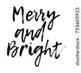 merry christmas card with... | Shutterstock .eps vector #753605923