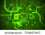 high tech electronic circuit... | Shutterstock .eps vector #753607447
