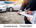 car insurance agent send a pen... | Shutterstock . vector #753610807